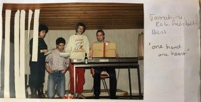 Rob (L), the dark-haired conductor of the Student Choir I was in. With other choir members - April 1986