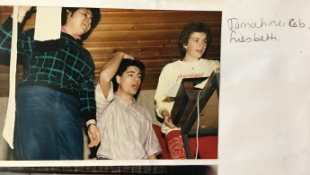 Rob (M), the dark-haired conductor of the Student Choir I was in. With other choir members. April 1986