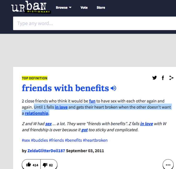 """The Urban Dictionary on """"Friends with benefits"""""""