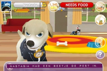 Rob's virtual dog Nastasia. Translation: Nastasia was kind of in a bad mood.