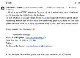 Email Constantia to Martin, May 24, 2020, about the email of Stan Pluijmen, in which Stan states he has 9M