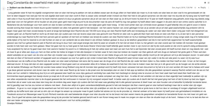 """Robbert van den Broeke """"Hello Constantia the truth with whatever consequences"""""""