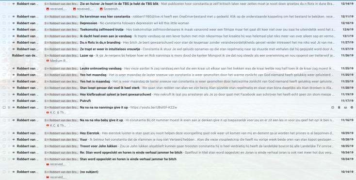 The harvest of Robbert van den Broeke hate emails since about the last blog on my Parameter Wordpress site
